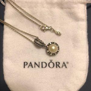 Genuine Pandora Sparking Pearl Pendant w/ chain